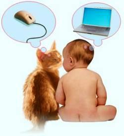 ребенок, малыш, компьютер, кошка, мышка, интернет, ноутбук