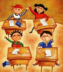 веселые, смеются, радостные, счастливые, школьники, урок, класс