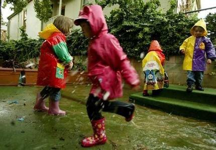 Веселые дети в дождливую погоду